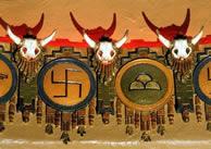 Swastika and skulls detail at KiMo Theater