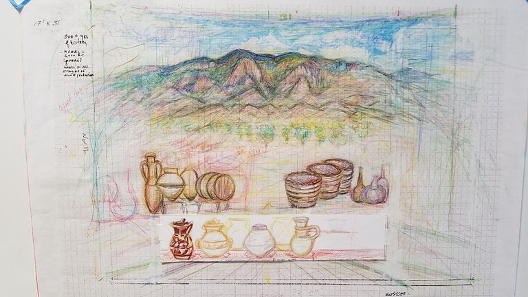 Sketch of Albuquerque Convention Center Fresco for curved wall of mountain landscape