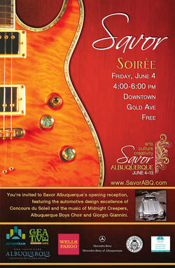 vYou are invited to Savor Albuquerque's opening reception, featuring the automotive design excellence of Concours du Soleil and the music of the Midnight Creepers, Albuquerque Boys Choir, and Giorgio Giannini.