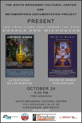 South Broadway Cultural Center and Metamorfosis Documentation Project Present Two Documentary Films about Day of the Dead.