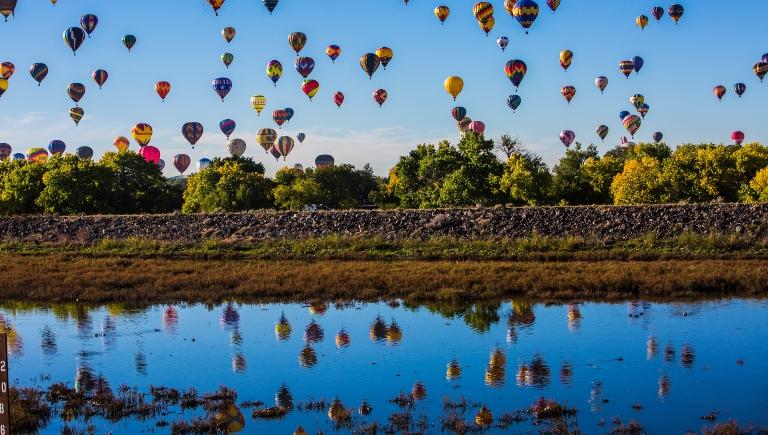 Hot Air Balloons in the sky during the Albuquerque International Balloon Fiesta