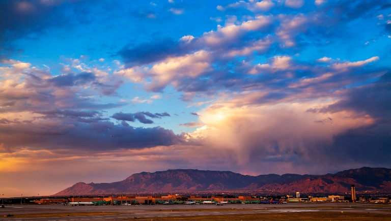 A photo of the Sandias behind the Sunport.