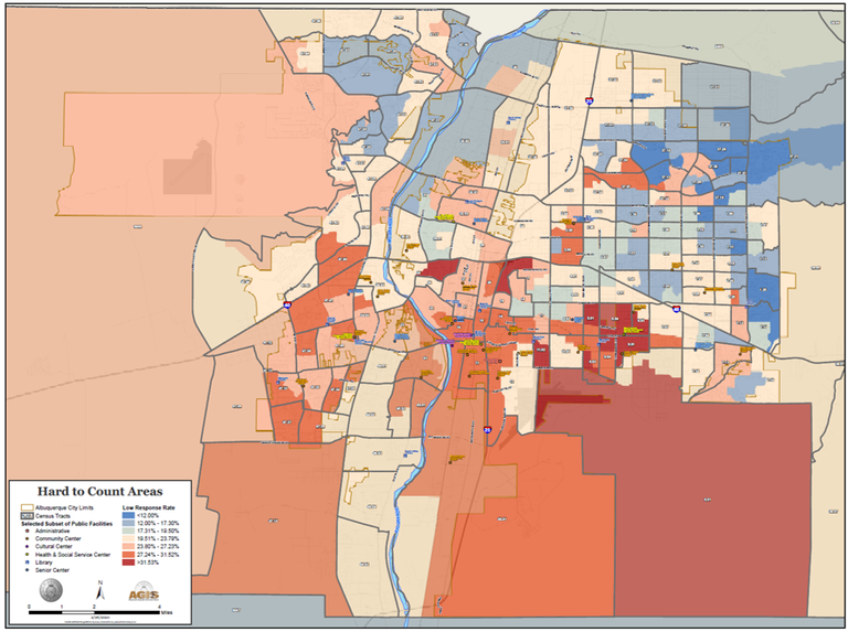 A map of Hard to Count Communities for the 2020 Census