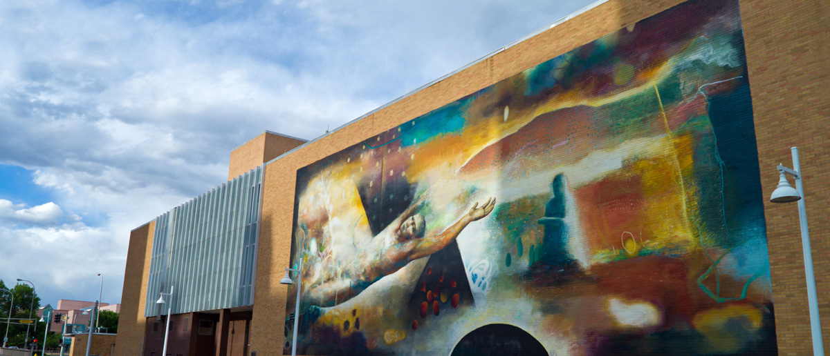 A photo of the painted mural on historic Route 66.