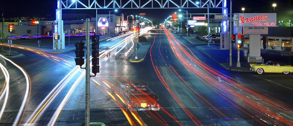 A photo of historic Route 66 taken at night with a long exposure.