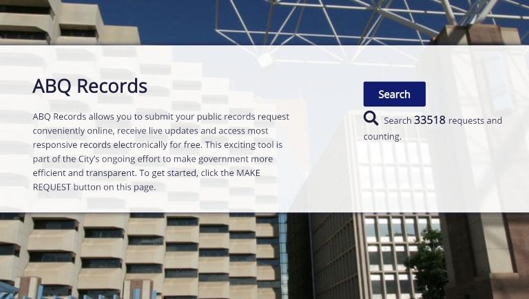 A screenshot of the ABQ Records website portal.