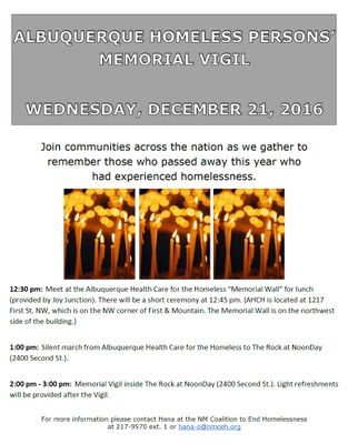 Albuquerque Homeless Persons' Memorial Vigil