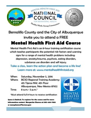 Mental Health First Aid Course City Of Albuquerque