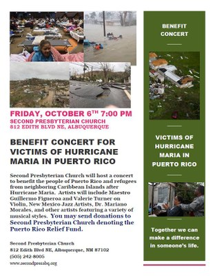 Benefit Concert for Victims of Hurricane Maria in Puerto Rico