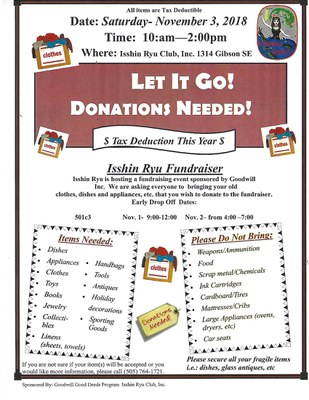 Isshin Ryu Club Let It Go Donation Fundraiser