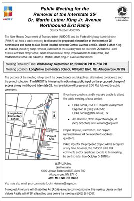 Public Meeting: Removal of the I-25 / Dr. Martin Luther King Jr. Avenue Northbound Exit Ramp