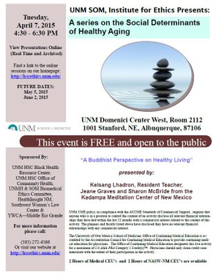 UNM SOM, Institute for Ethics Presents the Series: Social Determinants of Healthy Aging