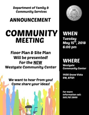 Community Meeting for Proposed New Westgate Community Center