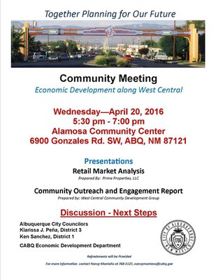 Community Meeting on West Central Corridor Retail and Market Analysis