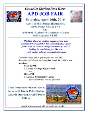Councilor Peña Hosts APD Job Fair at Atricso Heritage HS