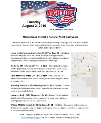 National Night Out in Council District 6
