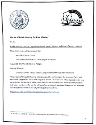 Public Hearing on the Parks and Recreation Department Policy with Regard to Private Tennis Lessons