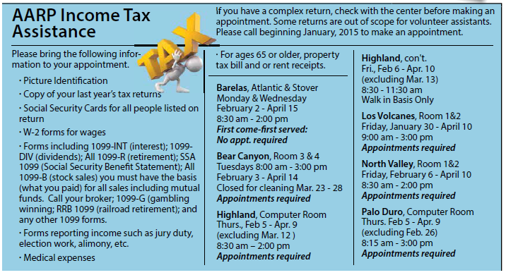 AARP Income Tax Assistance Flyer