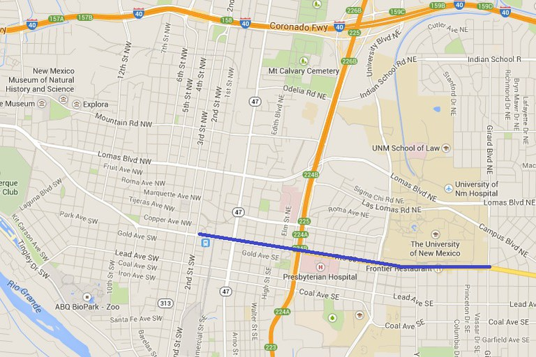 Map of Central Ave between 1st and Girard