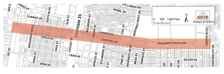 Central Complete Street Extent Map