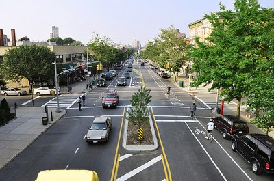 caption:Ariel view of a complete street in NC
