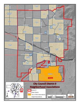caption:Map showing neighborhood associations in D9