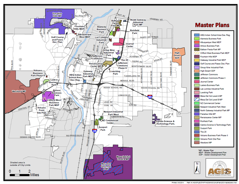 Map of Master Plans in ABQ