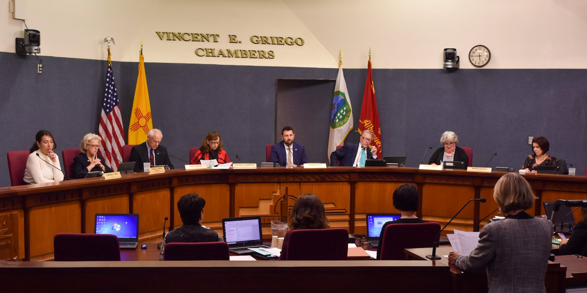 City Council Chambers with person speaking