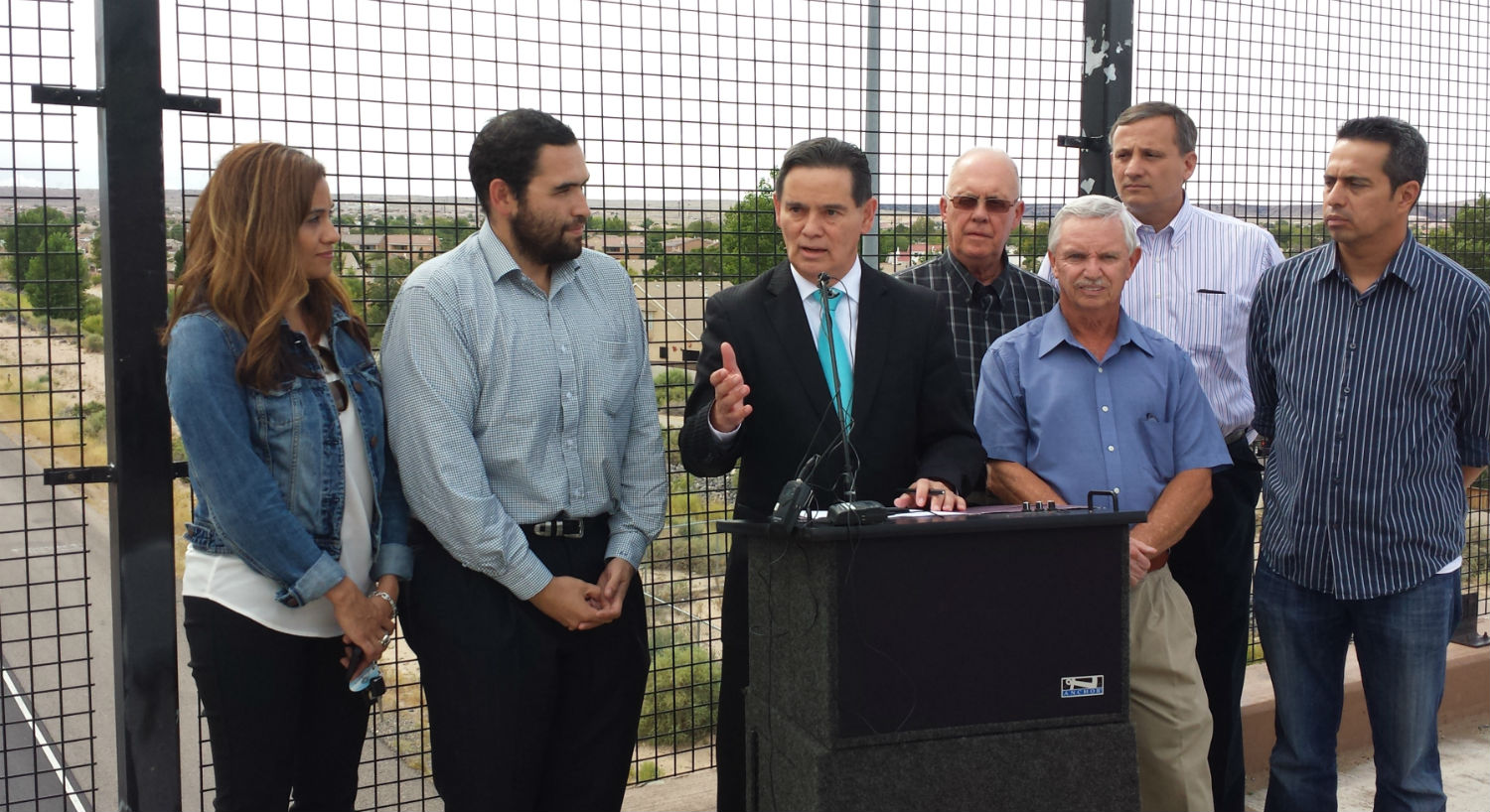 Council Sanchez at the news conference for the Insterstate 40 off ramp addition.