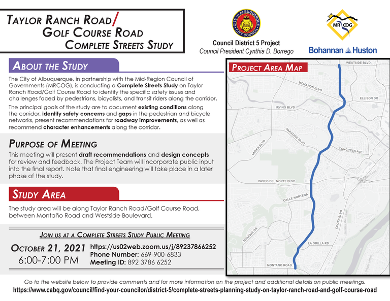 Golf Course - Taylor Ranch Complete Streets Overview Flyer [October 21 Public Meeting][1]