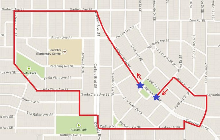 Highland High Marching Band Route