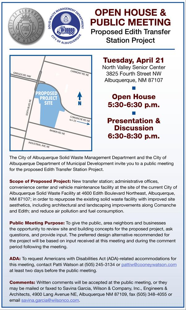 Proposed Edith Transfer Station Project Open House and Public Meeting