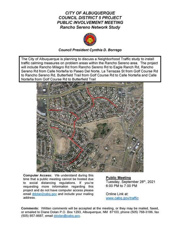 Rancho Sereno Study Public Meeting Flyer