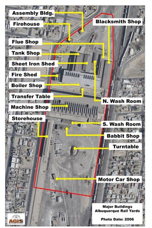 Labeled Aerial View of Albuquerque Rail Yards