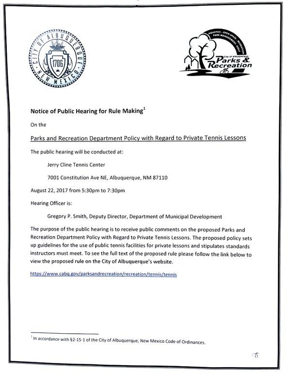 Tennis Policy Public Hearing Notice