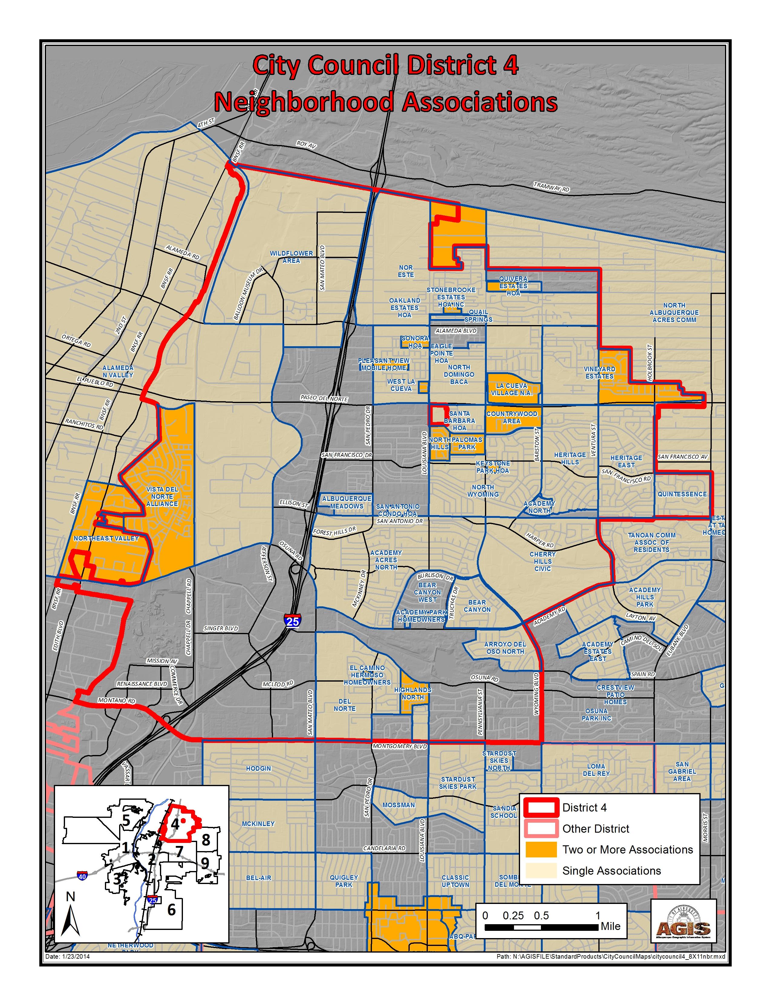 caption:D4 Boundaries with Neighborhood Associations current as of January 2014.