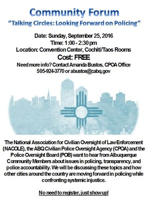 NACOLE Community Forum 09.25.16 Flyer