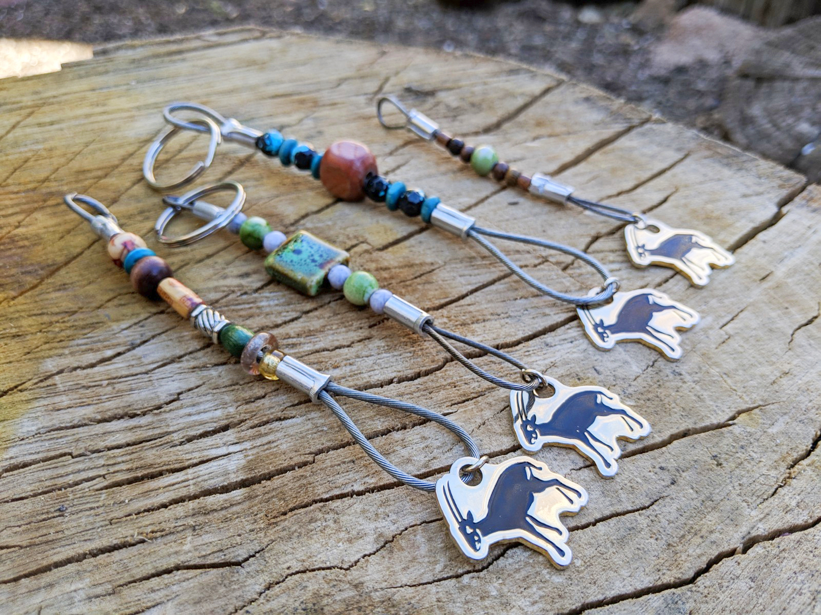 Keychains with animal shapes.