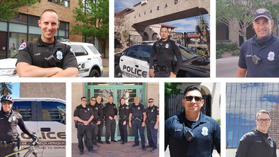 A jpg of the The Downtown Public Safety District mosaic tile, featuring a collage of APD police officers.