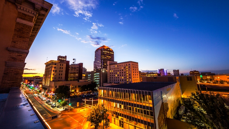 Central Avenue and Downtown Albuquerque at Night from a high vantage point.