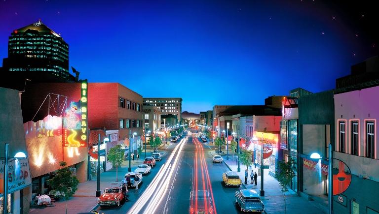 Downtown Albuquerque at night.