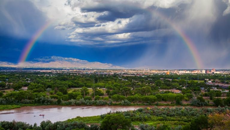 The Albuquerque Skyline, Rio Grande River, and Sandia Mountains