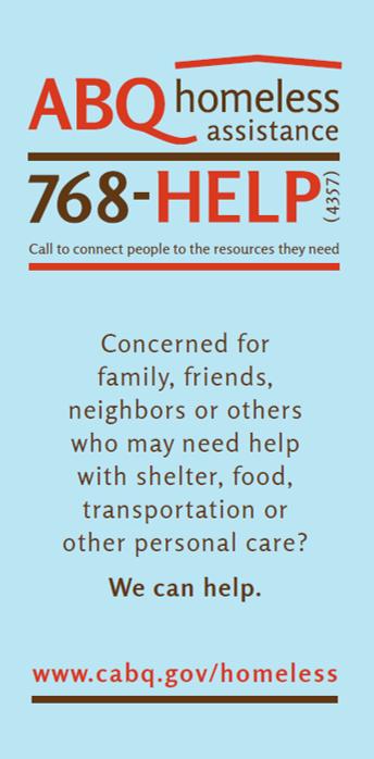 ABQ Homeless Assistance Line Flier