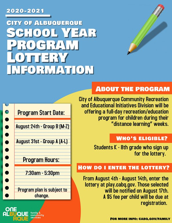 A PDF of the FCS School Year Lottery Flyer: Aug 2020.