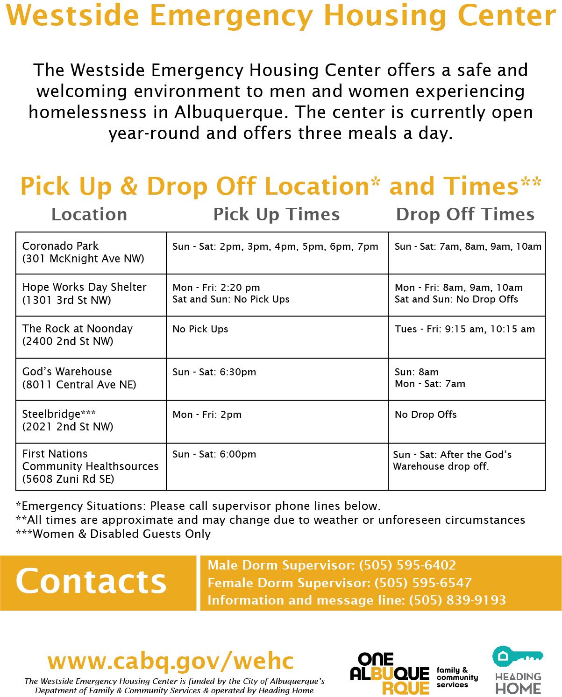 Westside Emergency Housing Center Schedule