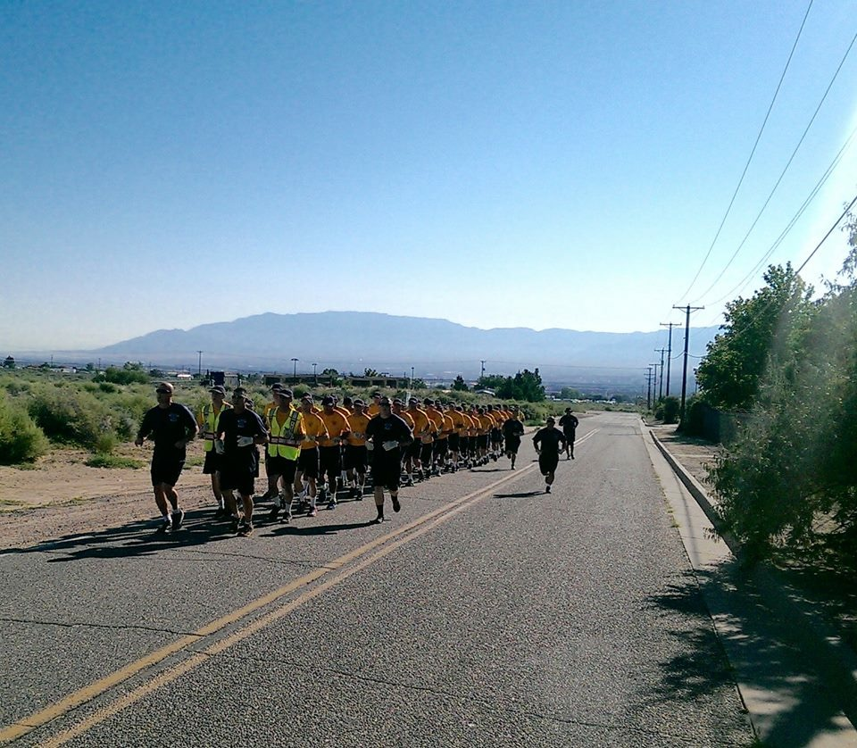 Image of cadets from the 87th Albuquerque Fire Academy running.