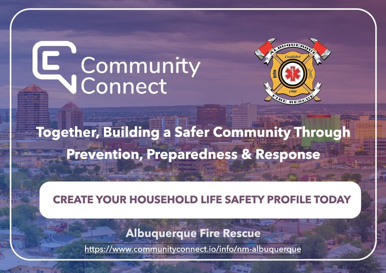 A jpg of the Albuquerque Fire Department Community Connect Slide 1.