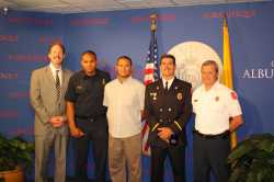 Ladder 15 is recognized by Mayor Berry