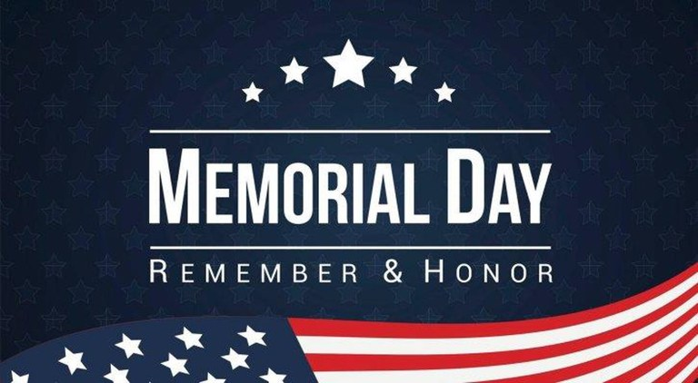 A blue banner with stars and stripes in the background that states Memorial Day: Remember and Honor