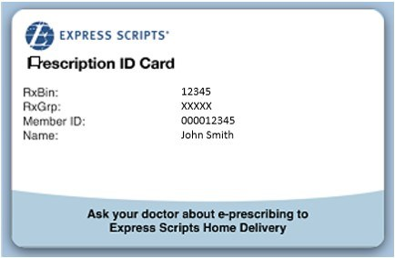 An example of an employee Express Scripts Card.